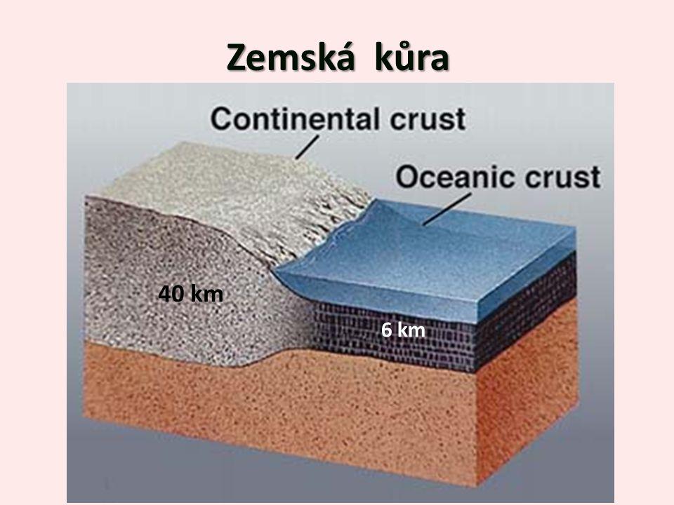 Zemská kůra 40 km 6 km