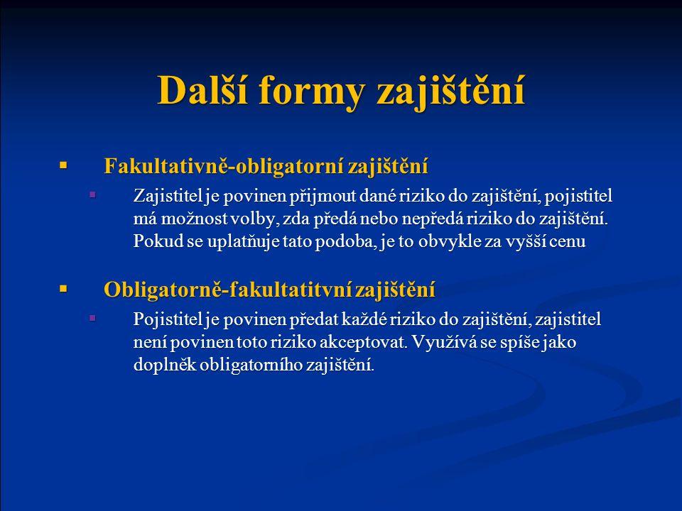 Další formy zajištění Fakultativně-obligatorní zajištění