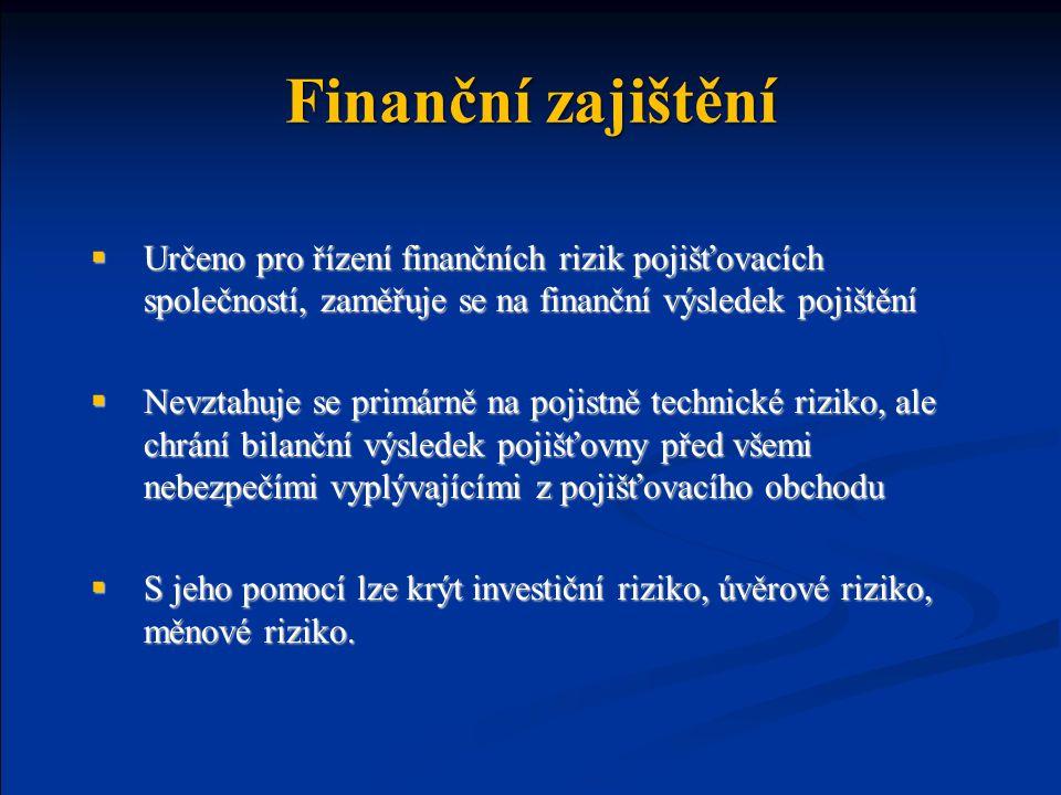 Finanční zajištění Určeno pro řízení finančních rizik pojišťovacích společností, zaměřuje se na finanční výsledek pojištění.