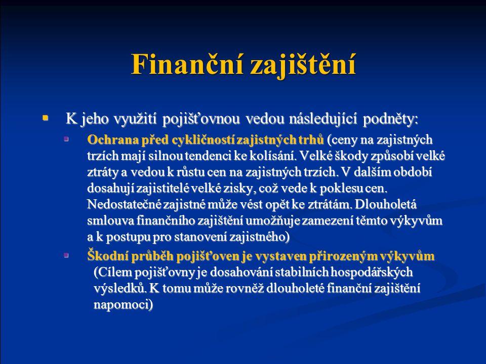 Finanční zajištění K jeho využití pojišťovnou vedou následující podněty: