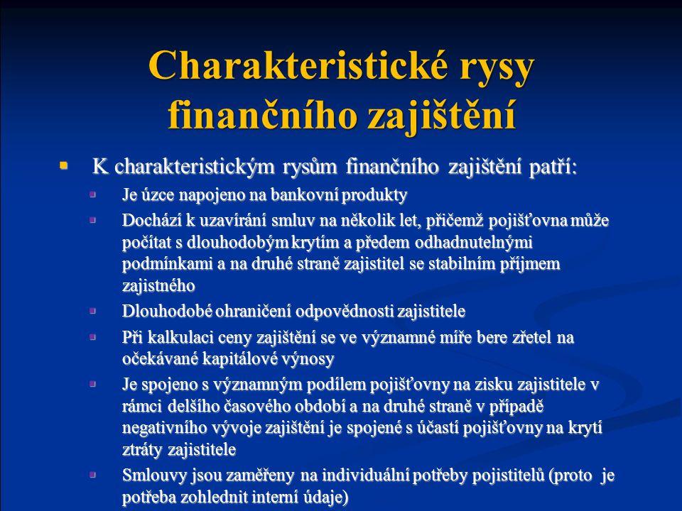 Charakteristické rysy finančního zajištění