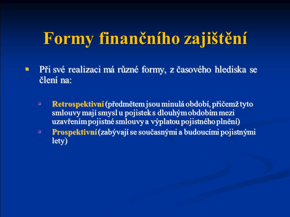Formy finančního zajištění
