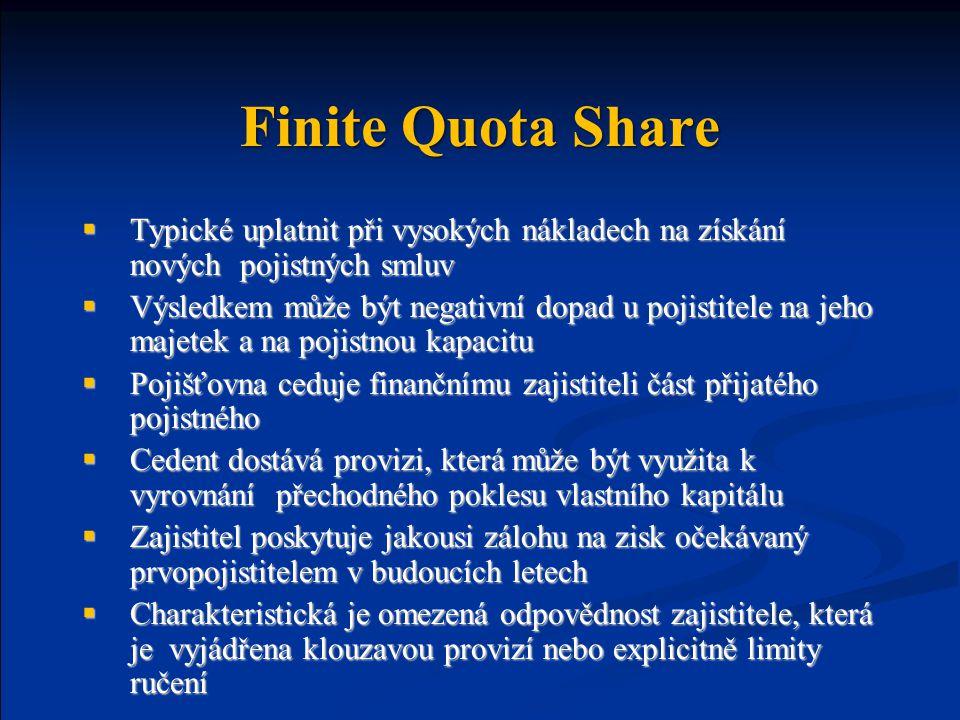 Finite Quota Share Typické uplatnit při vysokých nákladech na získání nových pojistných smluv.