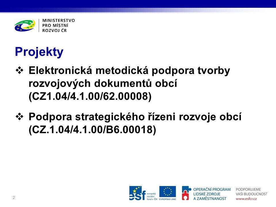 Projekty Elektronická metodická podpora tvorby rozvojových dokumentů obcí (CZ1.04/4.1.00/62.00008)