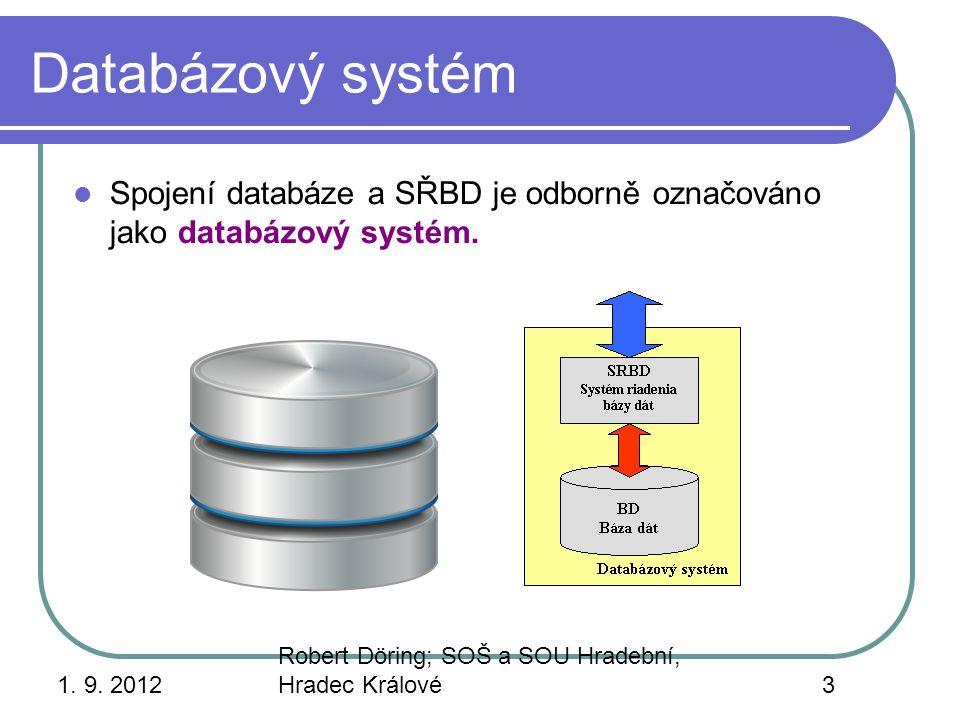 Databázový systém Spojení databáze a SŘBD je odborně označováno jako databázový systém. 1. 9. 2012.