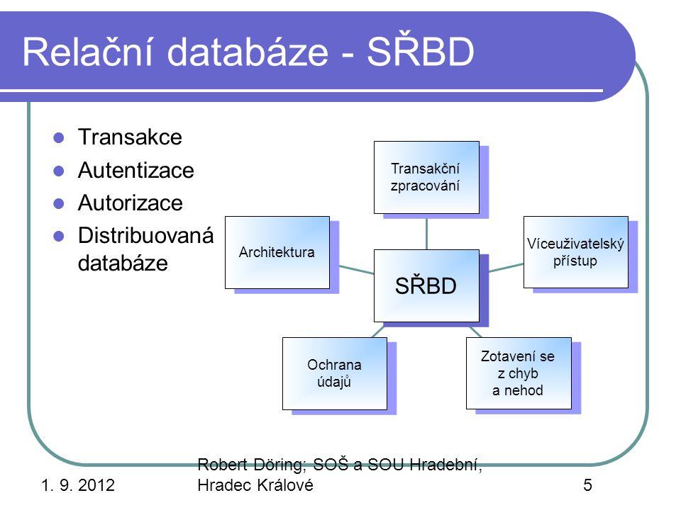 Relační databáze - SŘBD