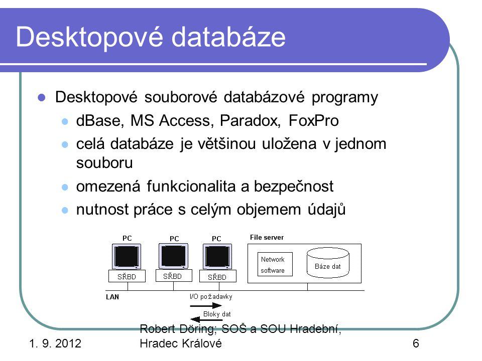 Desktopové databáze Desktopové souborové databázové programy