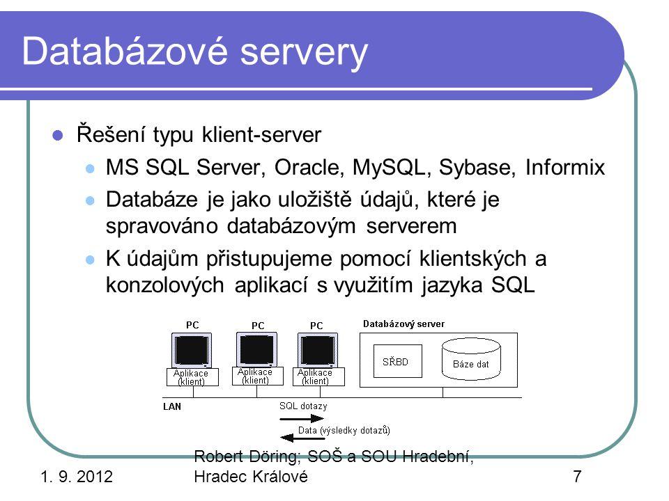 Databázové servery Řešení typu klient-server