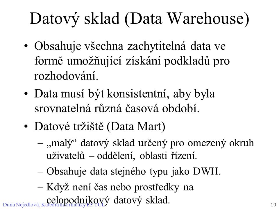Datový sklad (Data Warehouse)