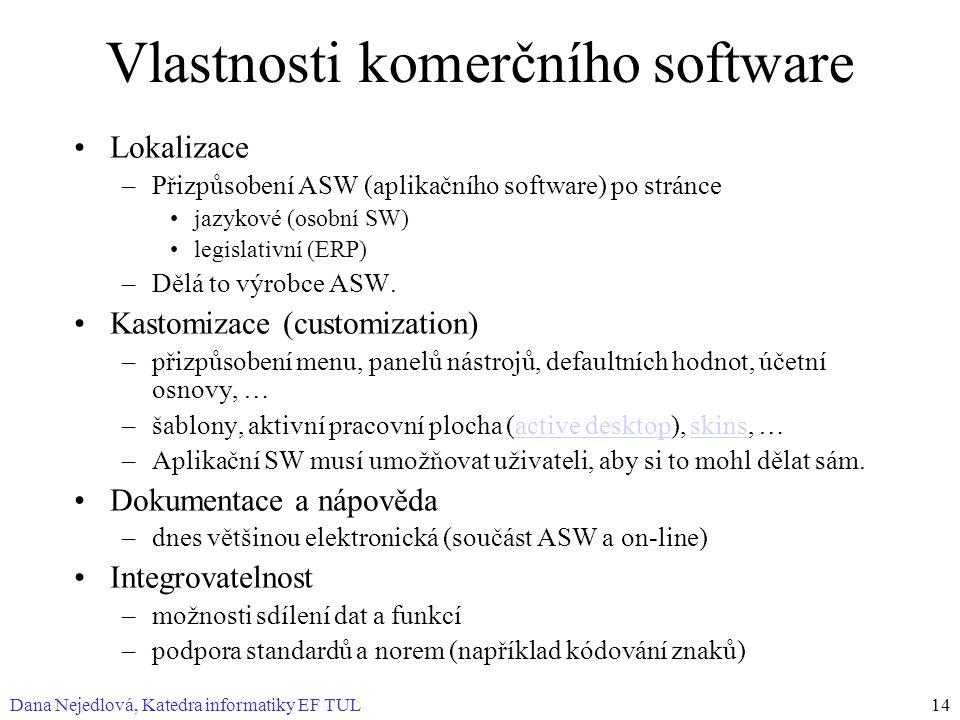 Vlastnosti komerčního software