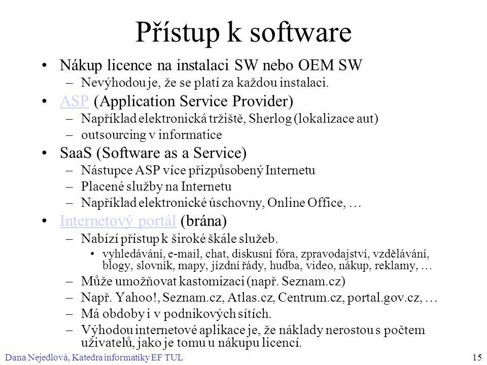 Přístup k software Nákup licence na instalaci SW nebo OEM SW