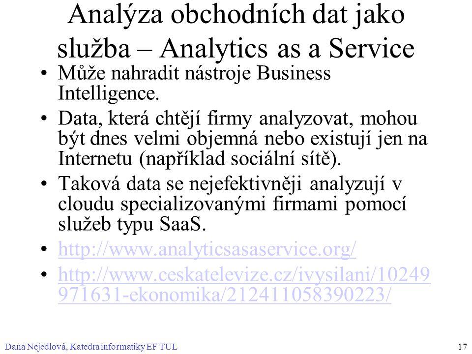 Analýza obchodních dat jako služba – Analytics as a Service