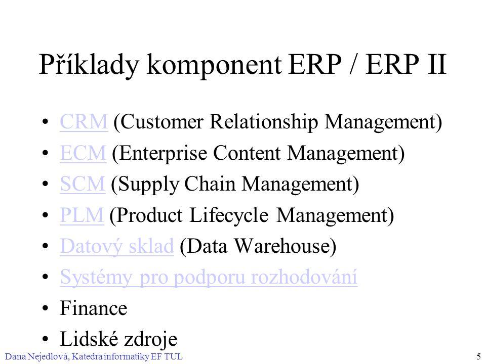 Příklady komponent ERP / ERP II