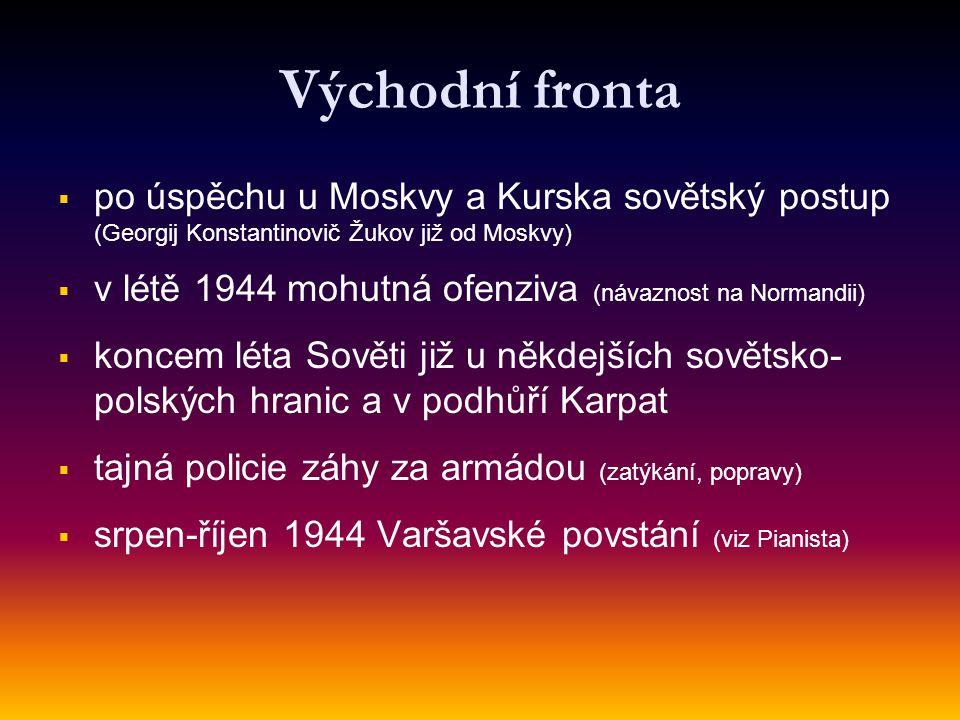 Východní fronta po úspěchu u Moskvy a Kurska sovětský postup (Georgij Konstantinovič Žukov již od Moskvy)