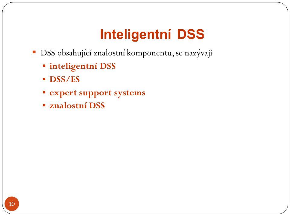 Inteligentní DSS DSS obsahující znalostní komponentu, se nazývají
