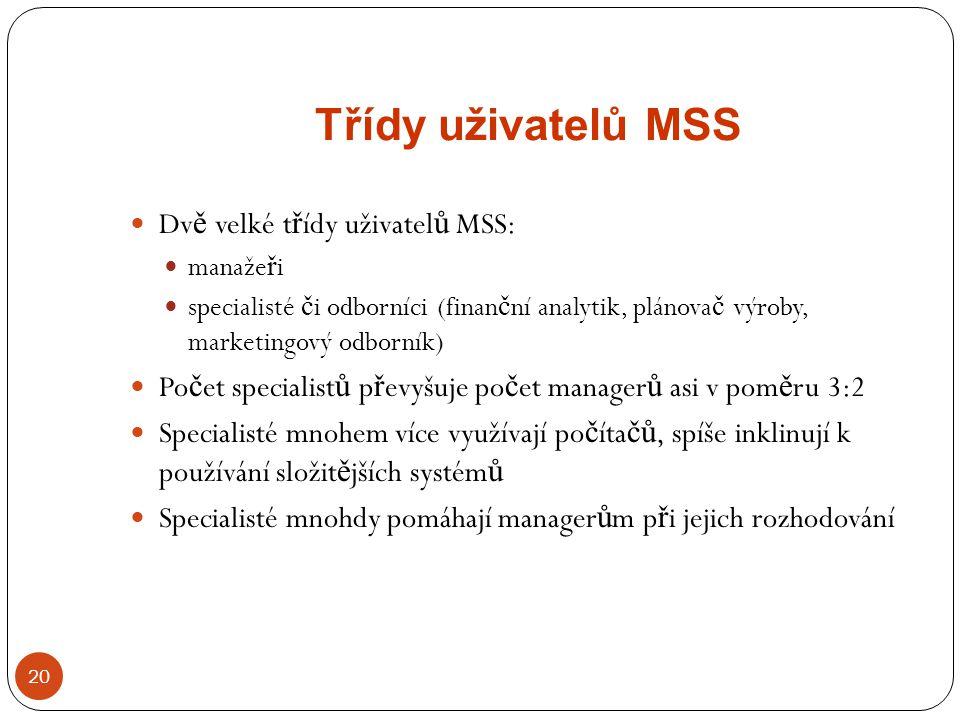 Třídy uživatelů MSS Dvě velké třídy uživatelů MSS: