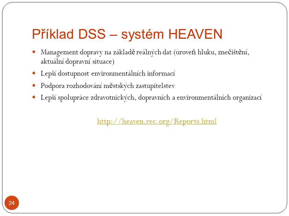 Příklad DSS – systém HEAVEN