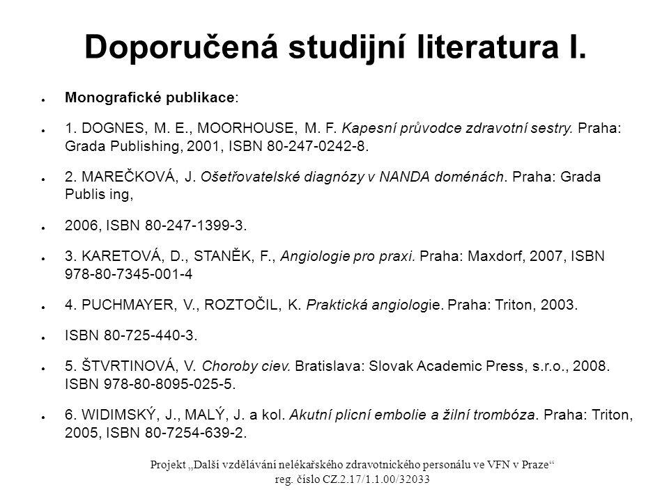 Doporučená studijní literatura I.