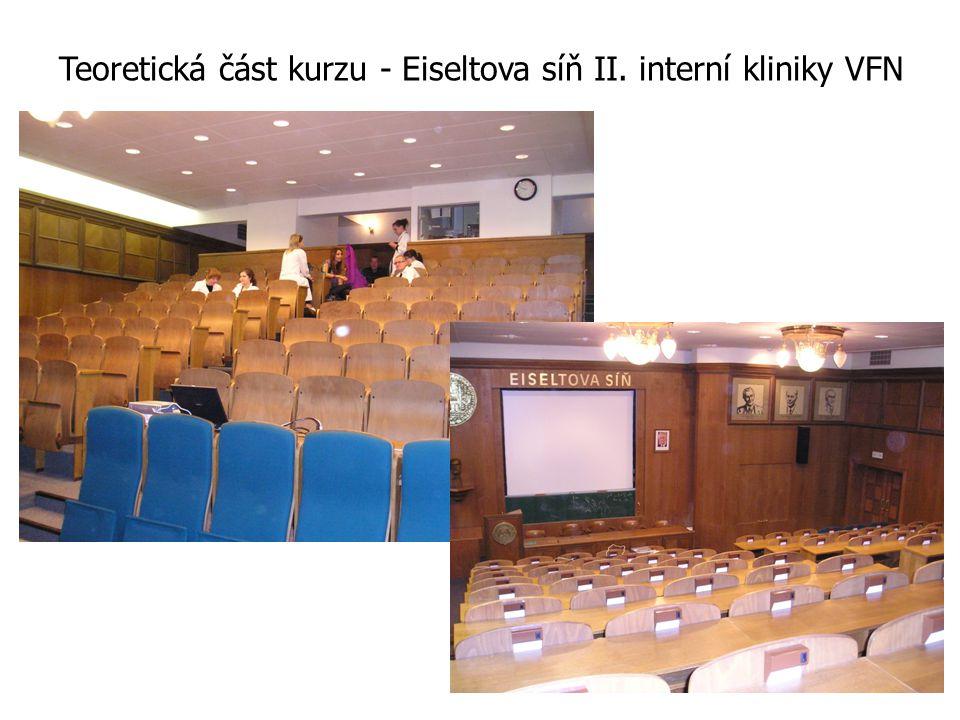 Teoretická část kurzu - Eiseltova síň II. interní kliniky VFN