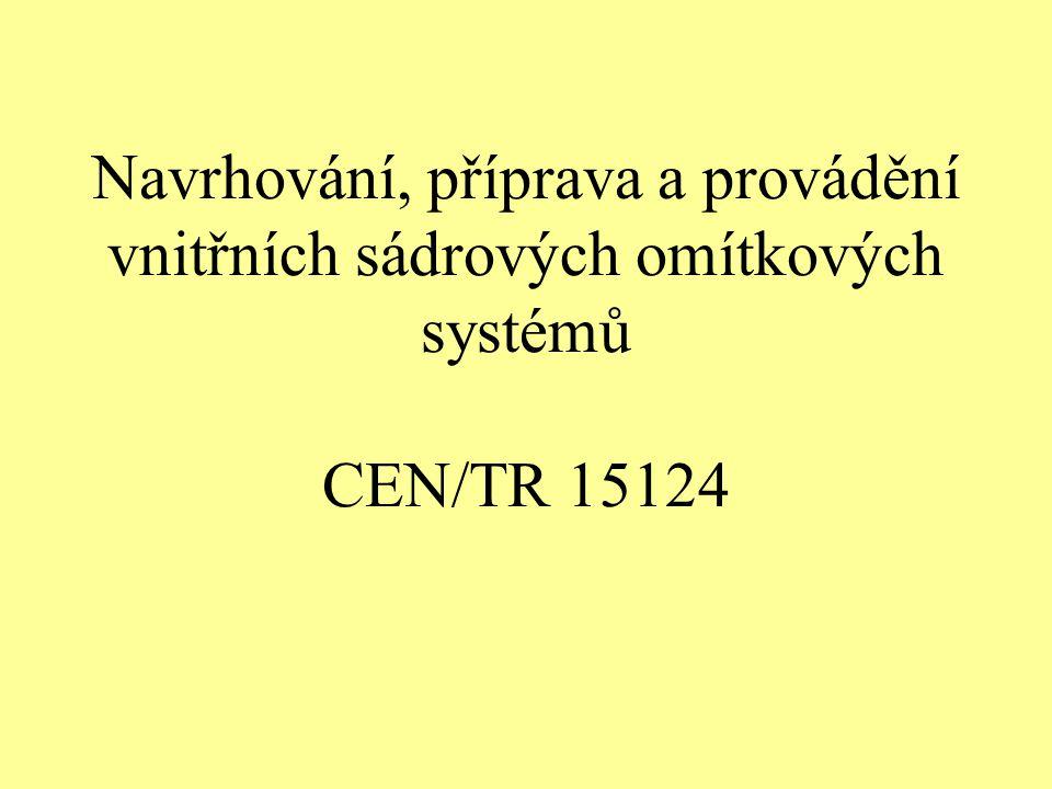 Navrhování, příprava a provádění vnitřních sádrových omítkových systémů CEN/TR 15124