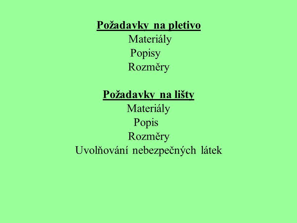 Požadavky na pletivo Materiály Popisy