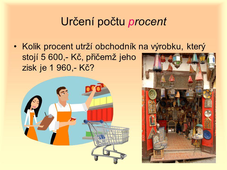 Určení počtu procent Kolik procent utrží obchodník na výrobku, který stojí 5 600,- Kč, přičemž jeho zisk je 1 960,- Kč