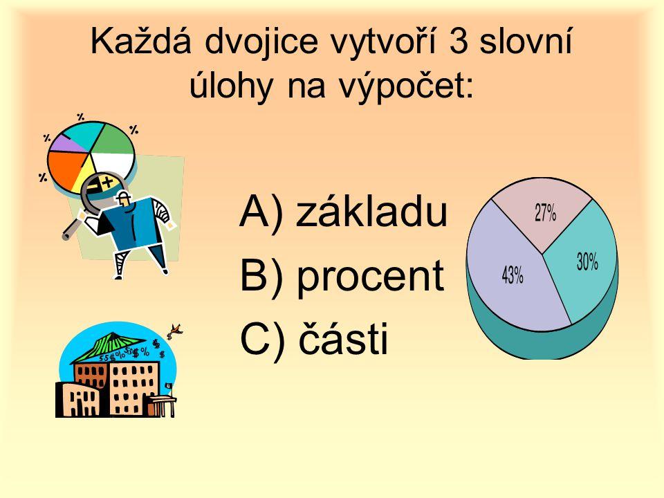Každá dvojice vytvoří 3 slovní úlohy na výpočet: