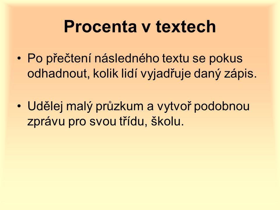 Procenta v textech Po přečtení následného textu se pokus odhadnout, kolik lidí vyjadřuje daný zápis.