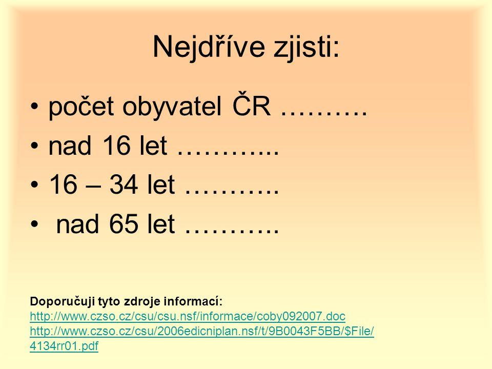 Nejdříve zjisti: počet obyvatel ČR ………. nad 16 let ………...