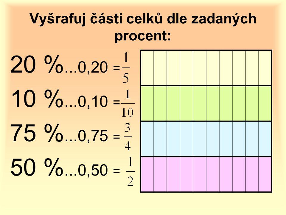 Vyšrafuj části celků dle zadaných procent: