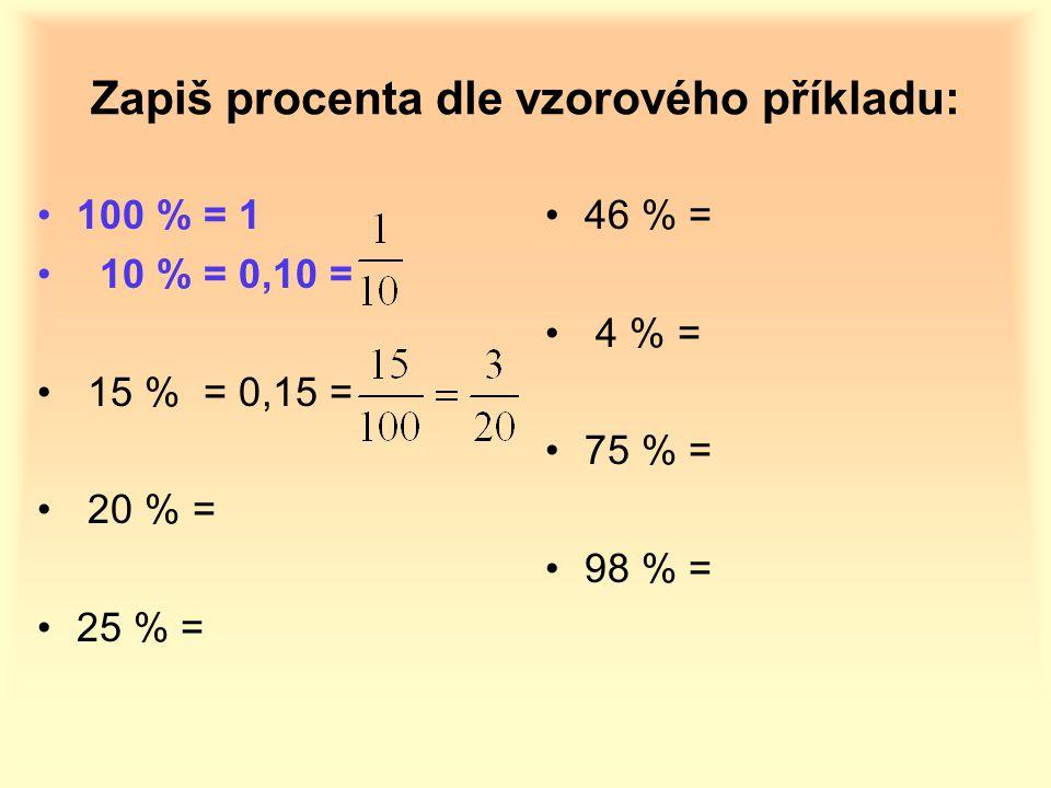 Zapiš procenta dle vzorového příkladu: