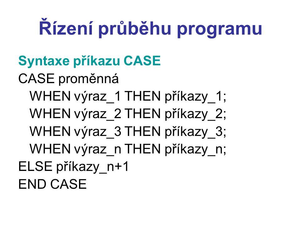 Řízení průběhu programu