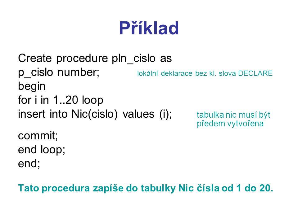 Příklad Create procedure pln_cislo as