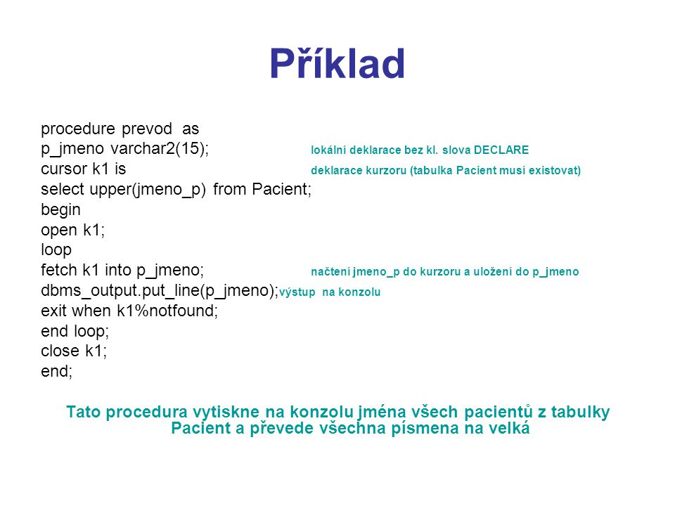 Příklad procedure prevod as