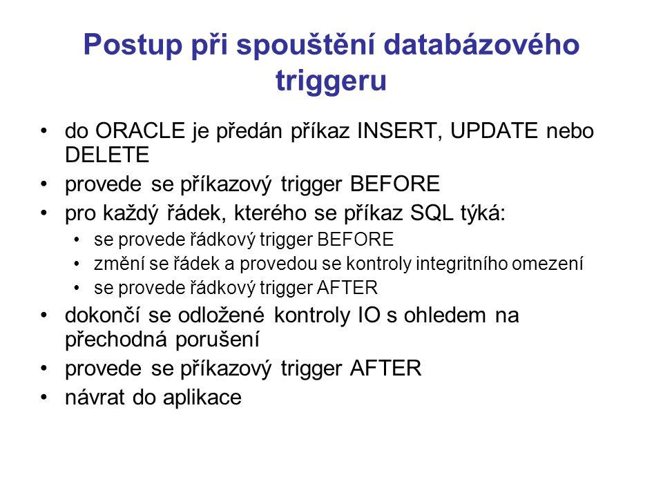 Postup při spouštění databázového triggeru