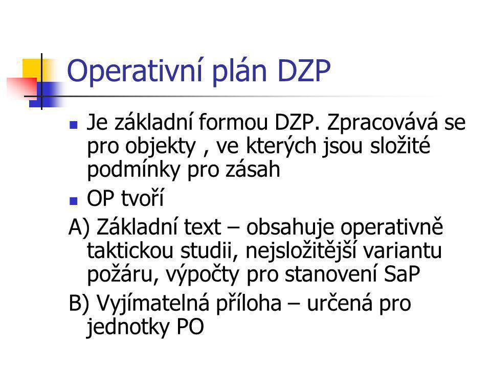 Operativní plán DZP Je základní formou DZP. Zpracovává se pro objekty , ve kterých jsou složité podmínky pro zásah.