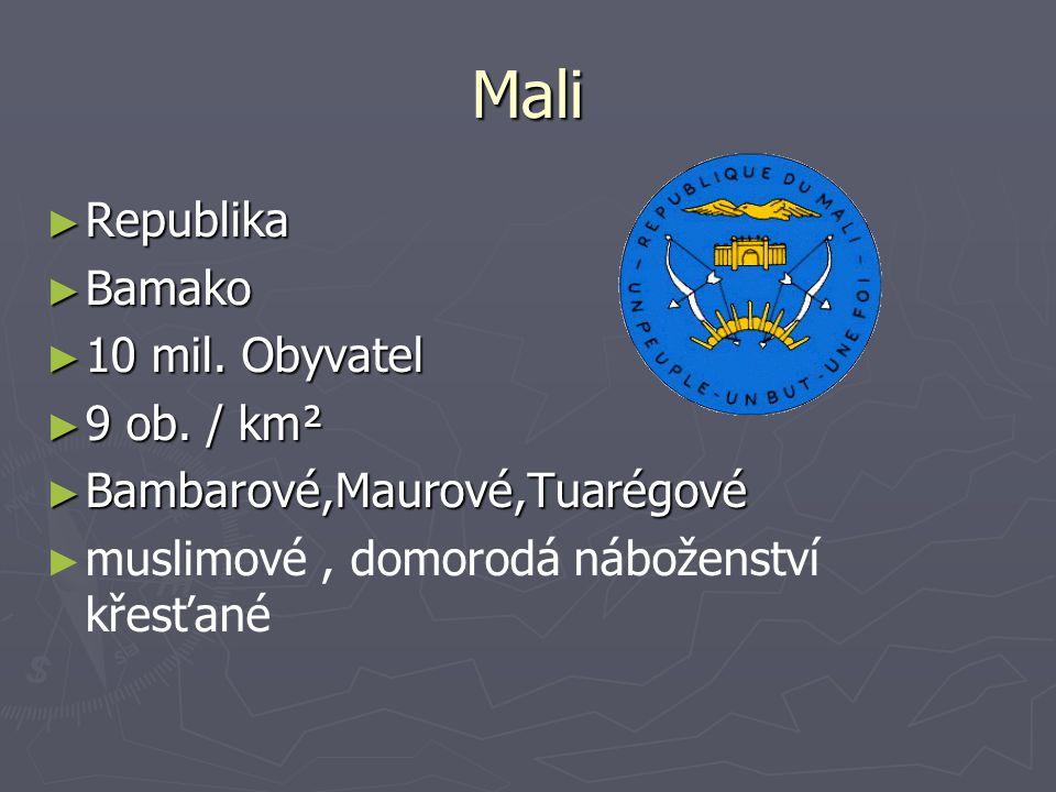 Mali Republika Bamako 10 mil. Obyvatel 9 ob. / km²