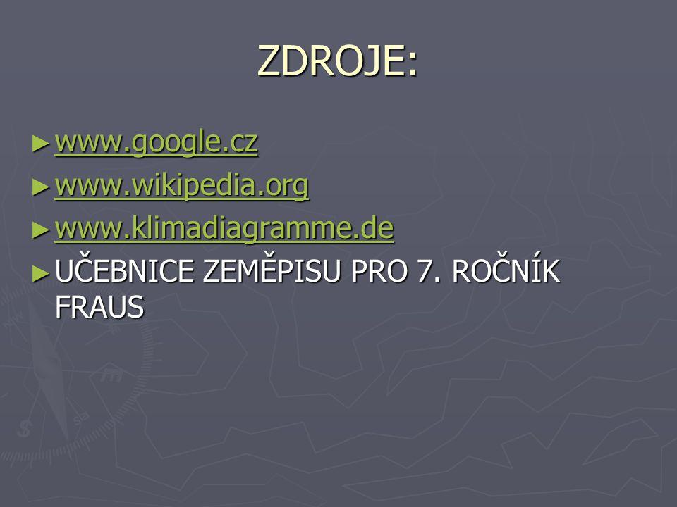 ZDROJE: www.google.cz www.wikipedia.org www.klimadiagramme.de