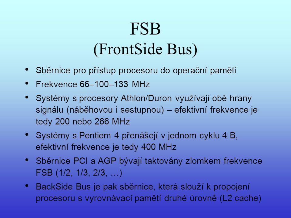FSB (FrontSide Bus) Sběrnice pro přístup procesoru do operační paměti