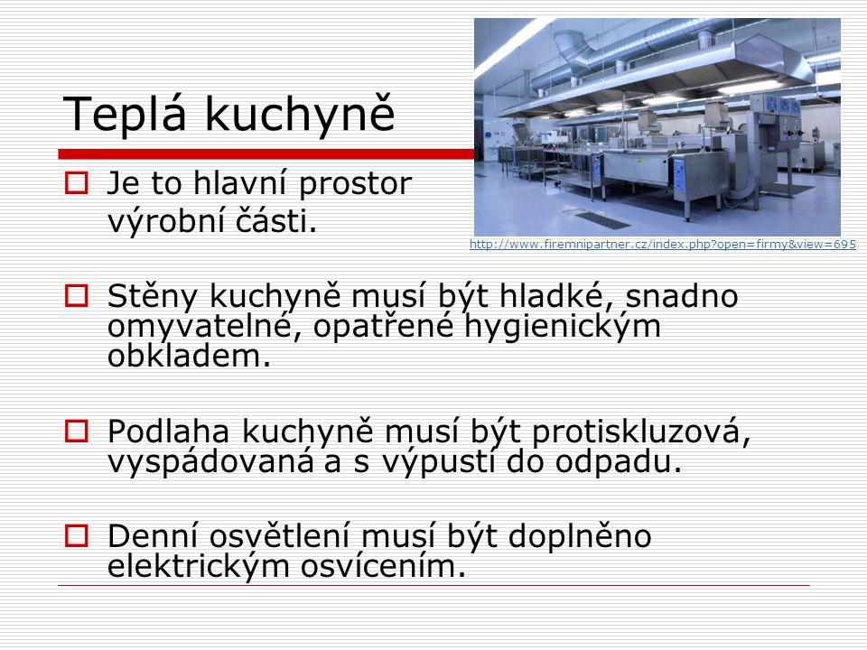 Teplá kuchyně Je to hlavní prostor výrobní části.