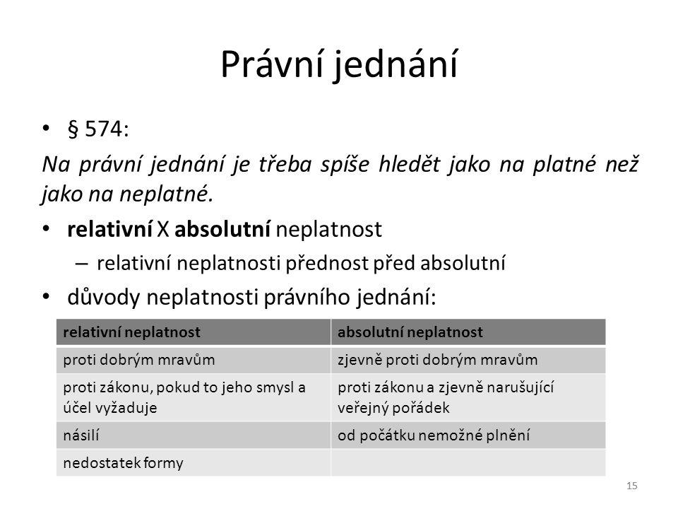 Právní jednání § 574: Na právní jednání je třeba spíše hledět jako na platné než jako na neplatné.