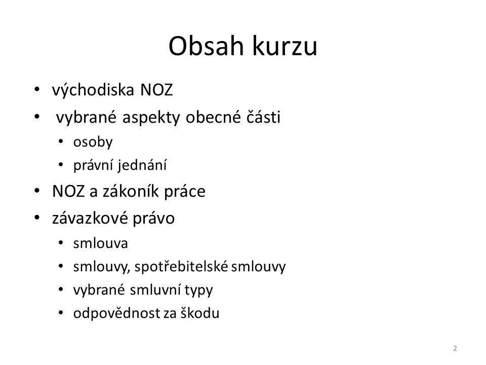 Obsah kurzu východiska NOZ vybrané aspekty obecné části