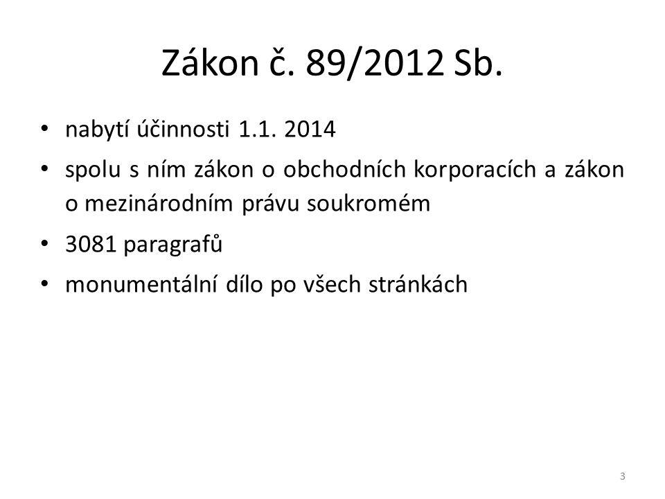 Zákon č. 89/2012 Sb. nabytí účinnosti 1.1. 2014