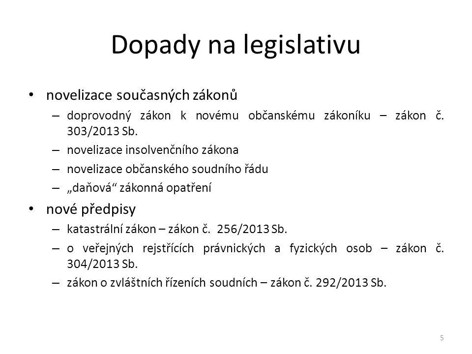 Dopady na legislativu novelizace současných zákonů nové předpisy
