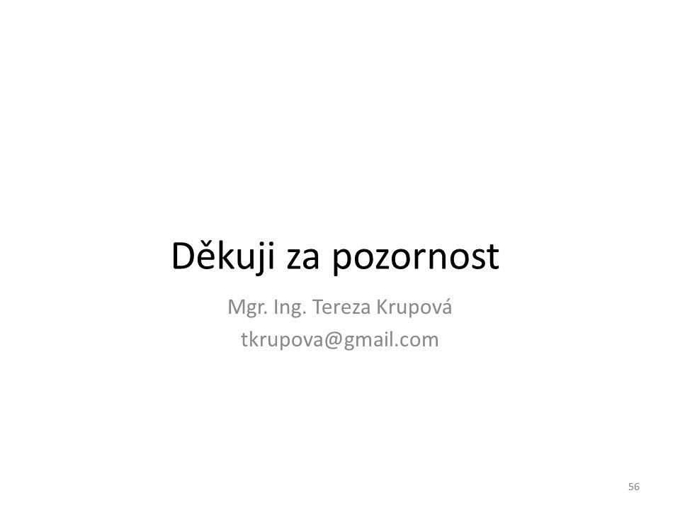 Děkuji za pozornost Mgr. Ing. Tereza Krupová tkrupova@gmail.com 56