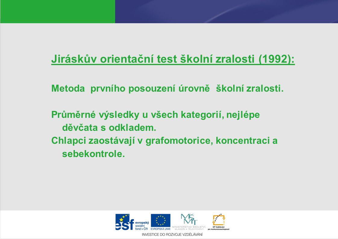 Jiráskův orientační test školní zralosti (1992):