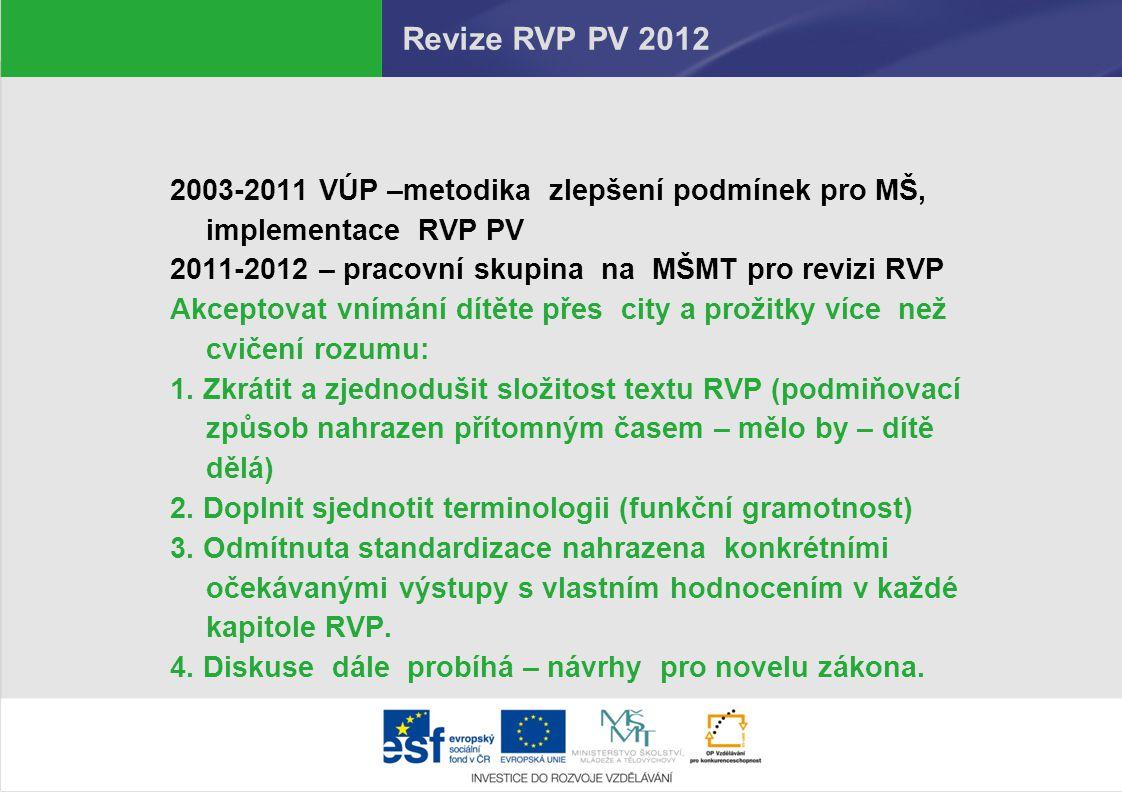 Revize RVP PV 2012 2003-2011 VÚP –metodika zlepšení podmínek pro MŠ, implementace RVP PV. 2011-2012 – pracovní skupina na MŠMT pro revizi RVP.