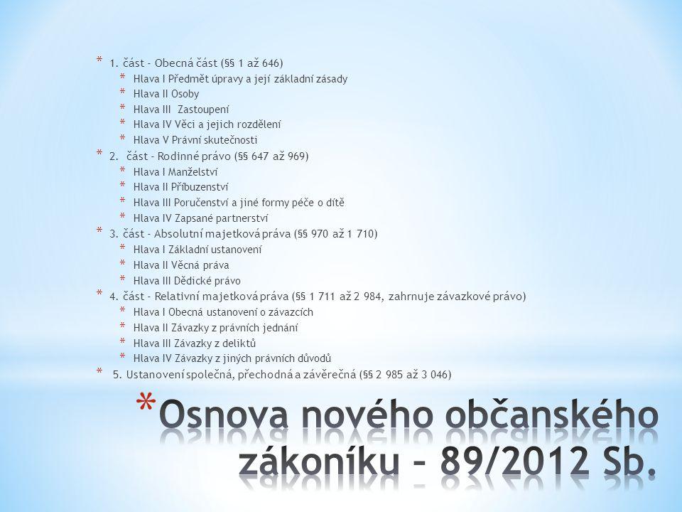 Osnova nového občanského zákoníku – 89/2012 Sb.