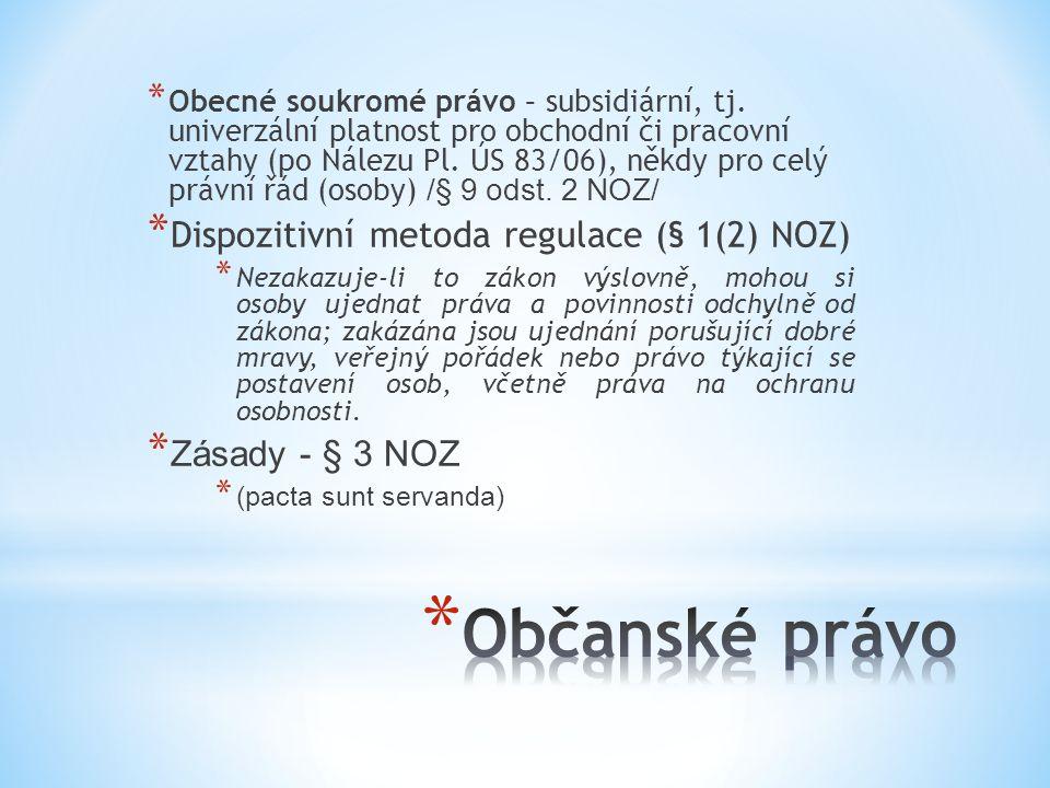Občanské právo Dispozitivní metoda regulace (§ 1(2) NOZ)