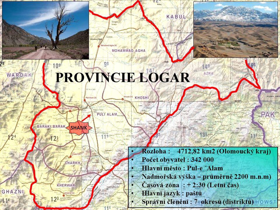 PROVINCIE LOGAR Rozloha : 4712,82 km2 (Olomoucký kraj)
